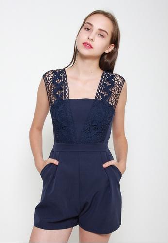 Leline Style blue Janiya Lace Romper 11559AA0236916GS_1