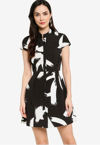 ZALORA WORK multi Mandarin Collar Fit & Flare Dress 81DE1AA5E799EBGS_1