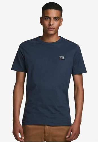 Jack & Jones navy Short Sleeves Crew Neck Tee CC401AA9A3B8E6GS_1