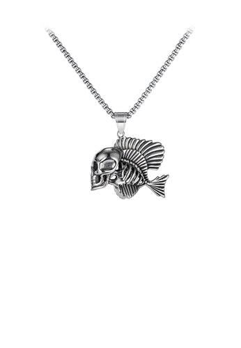 Glamorousky 銀色 時尚個性骷髏小丑魚316L鋼吊墜配項鏈 95BC1AC6A3D6E4GS_1