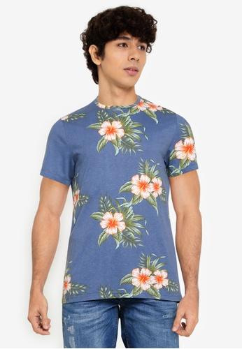BLEND blue and multi Tropical Print Crew Neck T-Shirt 042AAAA5761D73GS_1