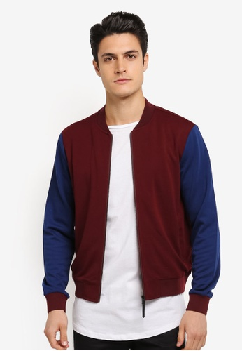 JAXON red and multi Mixed Fabric Bomber Jacket 80090AAB7943B3GS_1