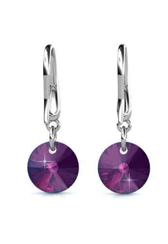 Her Jewellery silver Circlet Hook Earrings (Purple) - Made with premium grade crystals from Austria HE210AC0GJSJSG_1