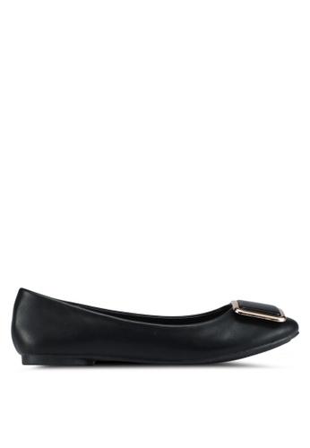 Bata 黑色 舒適金屬飾平底鞋 03563SH8C908ECGS_1