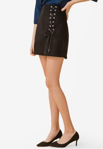 Eyescream black Lace Up Mini Skirt 59804AAB854106GS_1