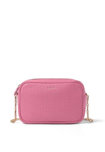 BERACAMY pink BERACAMY Chain Mini Crossbody - Croc-Embossed Pink 36075AC1548564GS_1