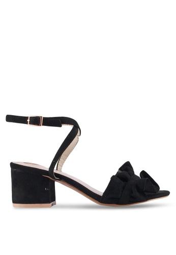 Velvet black Double Front Strap Ruffles Heels 57645SH8AE2CE1GS_1