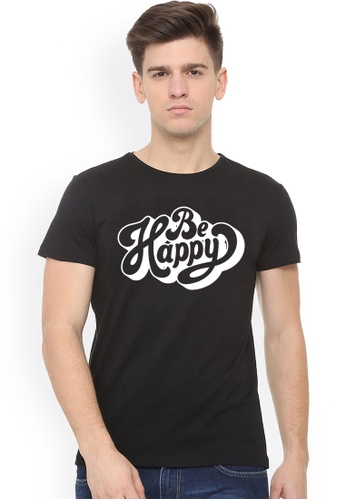 Greatvalueplus black Be Happy Men's Round Neck Statement T-Shirt 10A8AAACC615E8GS_1