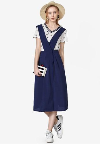 Hopeshow navy Urban Cross Suspenders Pinafore Dress 802ABAA2157A17GS_1