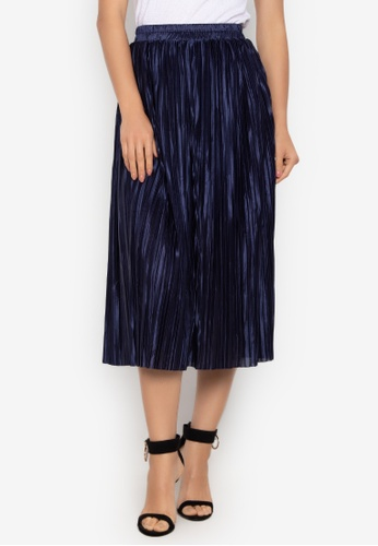 Chase Fashion blue Accordion Soft Pleated Maxi Skirt 37AE2AA2480605GS_1