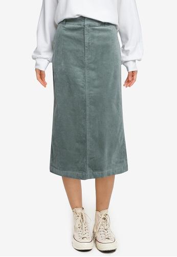 LOWRYS FARM green Cord Midi Skirt A9316AAD91FD9DGS_1