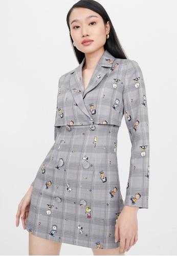 Pomelo grey Plaid Graphic Print Dress - Mid Grey C1279AABBC2F2EGS_1