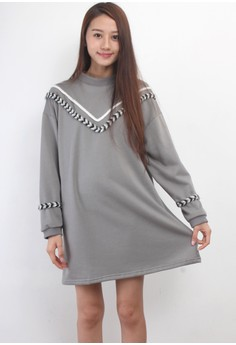 Braid Trim Oversized Sweat Dress