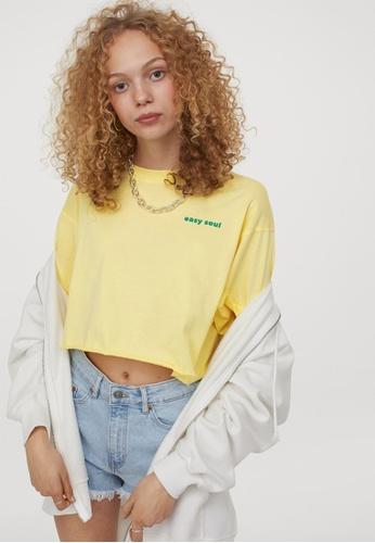 H&M yellow Cropped Printed T-Shirt 18B34AA770EA39GS_1