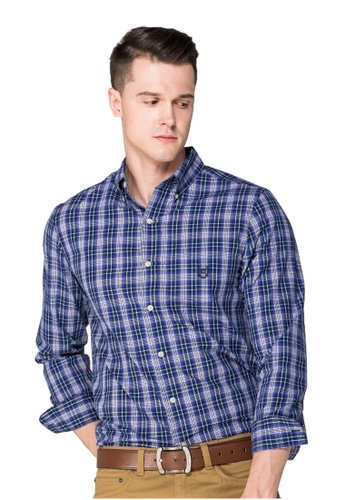 Chaps blue and purple Chaps Cotton-Blend Shirt  CH325AA0S816MY_1
