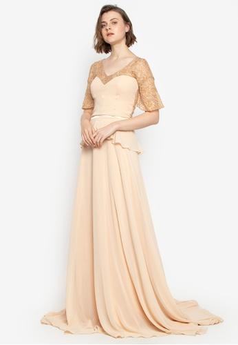 Fatima Beltran Clothing Line beige Skintone Long Gown 24342AA46040ACGS_1