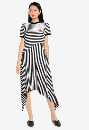 ZALORA BASICS black Contrast Stripes Midi Dress 2C728AAA84F845GS_1