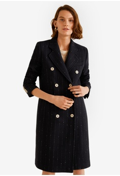 c27b517c1e9 Mango black Double-Breasted Wool Coat A5232AAF7142CFGS 1