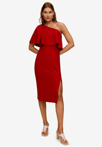 Mango red Asymmetrical Ruffle Dress 714ADAA45FCCDCGS_1