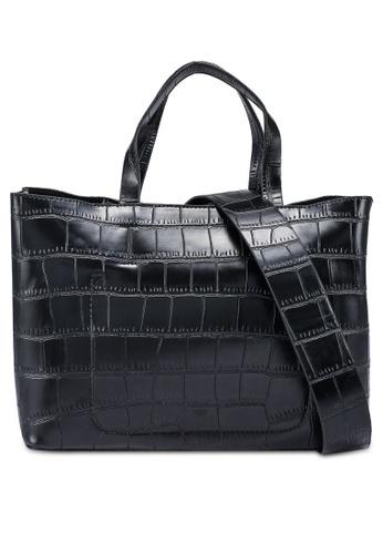 nose black Faux Crocodile Hand Bag 2AE6AACAE7EF59GS_1