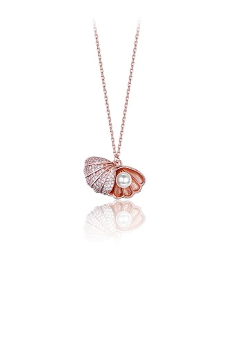 Glamorousky white 925 Sterling Silver Elegant Fashion Rose Gold Plated Pearl Pendant Necklace with Austrian Element Crystal 2050FACAADF771GS_1