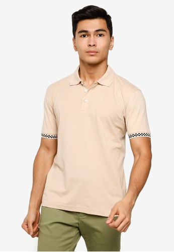 UniqTee beige Polo Shirt With Checkered Cuff 86275AAA4B3FEFGS_1