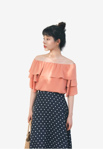 hk-ehunter orange Women Solid Ruffle Off Shoulder Blouse Top BA1E8AA4BB084BGS_1