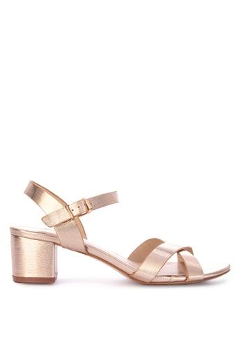 d2f25cd5cad0 Shop CLN Sunstone Metallic Two Strap Low Heel Sandals Online on ZALORA  Philippines
