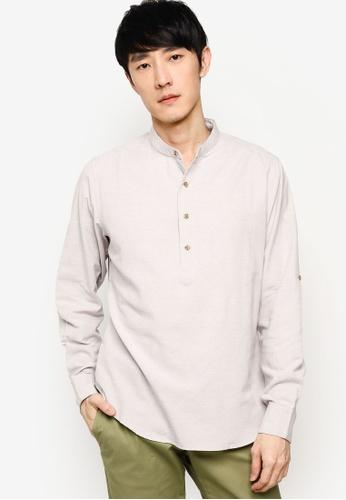 ZALORA BASICS grey Oxford Half Placket Shirt 1EE00AAB11CB2BGS_1