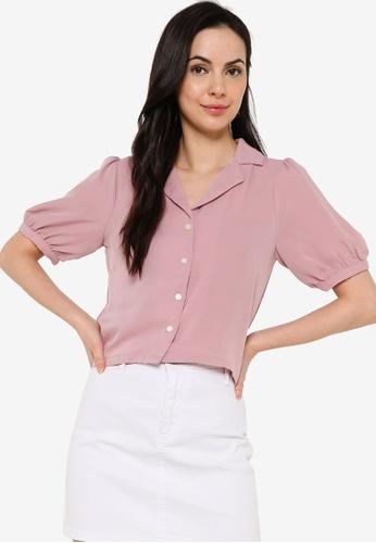 ZALORA BASICS pink Puff Sleeves Button Down Blouse 513DAAA188B814GS_1