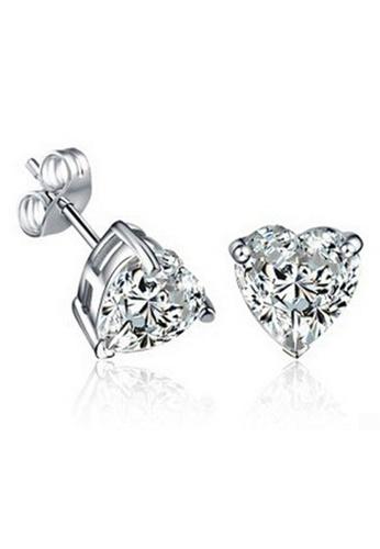 YOUNIQ silver YOUNIQ Heart CZ 925 Sterling Silver Earrings (White) YO999AC64NOTMY_1