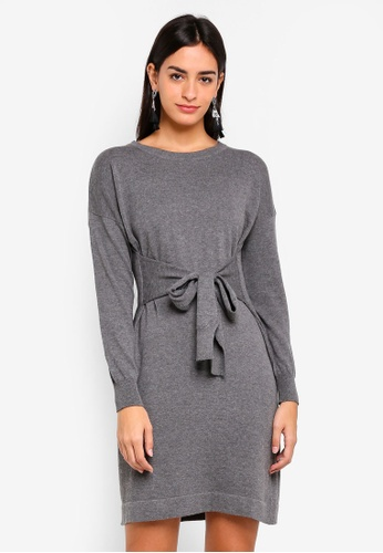 ZALORA grey Sweatshirt Dress With Waist Tie 5B5ADAA4091D4CGS_1