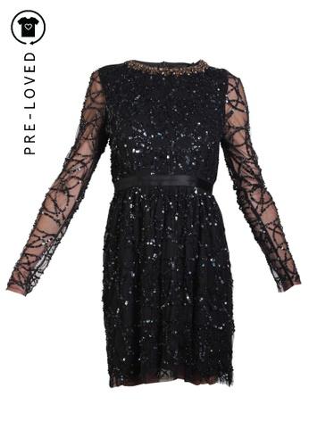 Needle & Thread black Pre-Loved needle & thread Long Black Diamond Sequin Dress 797B2AAC5EA493GS_1