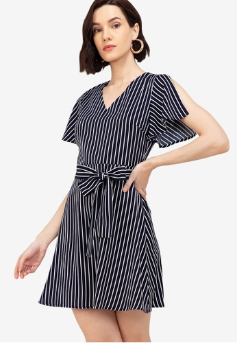 ZALORA WORK multi V Neck Split Sleeves Dress 2C69DAAC7FA47EGS_1
