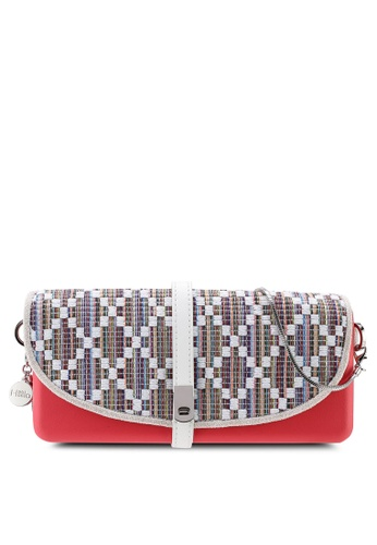Hoola Hoola pink Camilla Clutch - Pink Punch White ZigZag with Snake Chain 966D9AC5D83D88GS_1