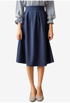 a51123014ccd Tokichoi blue Plain Flare Midi Skirt With Pocket 20BDDAA16CC49AGS_1