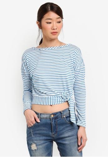 Miss Selfridge blue Striped Tie Side Top BF23CAAFBC3D21GS_1