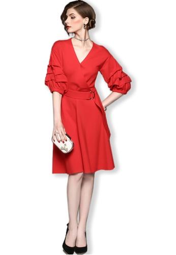 Sunnydaysweety red 2017 F/W Red Mid Sleeves One Piece Wrap Mini Dress UA092026R SU219AA0FXO6SG_1