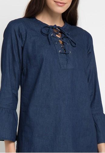 Jual Novel Mice Chambray Front Tie Tunic Original Zalora