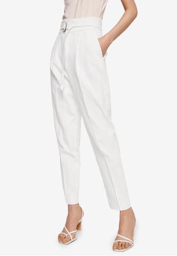 Mango white Belt Line Trousers 1D44BAA6D96991GS_1