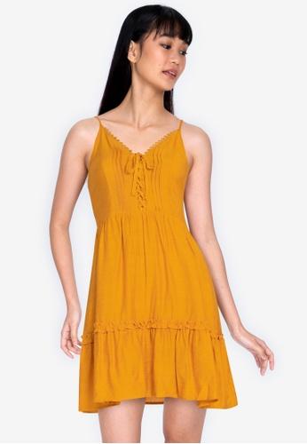 ZALORA BASICS yellow Lace Trim Plunge Neck Dress 10297AA775761DGS_1