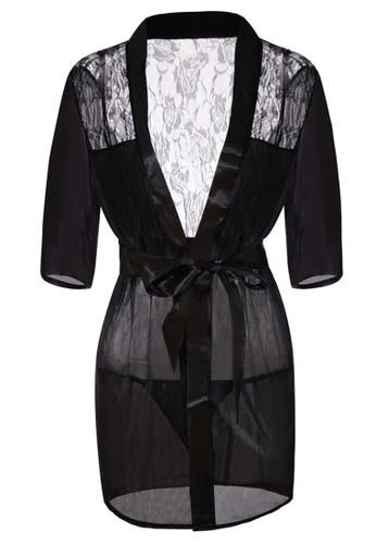 SMROCCO black Megan Robe Sleepwear PM8057 29EB1AAB1AB4F0GS_1