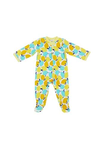Baby Lovett yellow Cheery Lemons Two-Way Zipper Suit with Footies 05ECBKA1258CD4GS_1