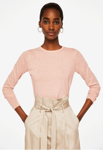 MANGO pink Swiss Tulle Panel Sweater BC36FAA1B8DEA6GS_1