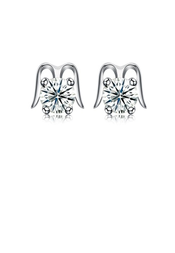 Glamorousky white 925 Sterling Silver Simple Fashion Cubic Zircon Stud Earrings 78B72AC5A322EAGS_1