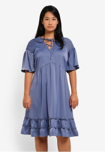 LOST INK PLUS blue Plus Size Fit & Flare Dress With Shirring & Frills LO776AA0SZ4OMY_1