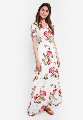 Something Borrowed white Slit Sleeves Wrap Maxi Dress DA352AA1F79BD9GS_1