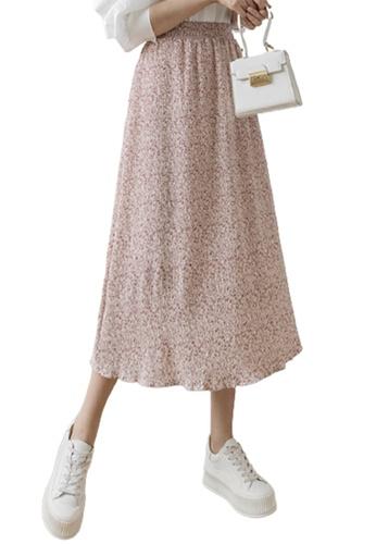 Halo pink Printed Chiffon Pleated Skirt 1F127AA2F7105FGS_1