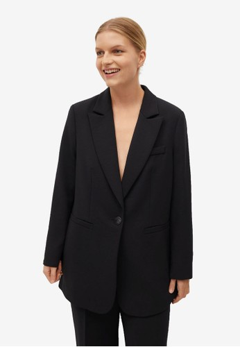 Violeta by MANGO black Plus Size Peak Lapel Suit Blazer F45DAAA3CB6EE7GS_1