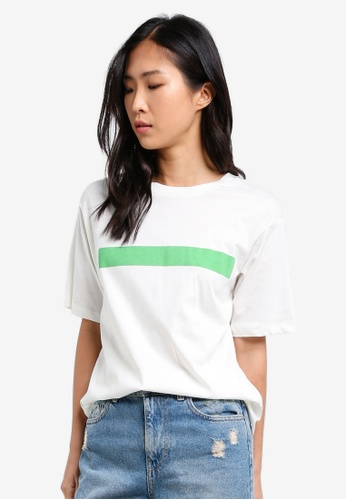 ONLY white ONLY ONE Striped Detail T-Shirt ON573AA0S457MY_1